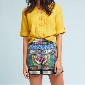 Anthropologie Ett Twa Printed Scarf Shorts Sz S